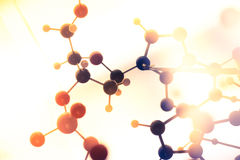Het moleculaire, model van DNA en van het atoom in het laboratorium van het wetenschapsonderzoek Royalty-vrije Stock Foto's