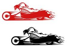 Het monster van de dood op motorfiets stock illustratie