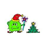 Het monster wenst een Gelukkig nieuw jaar Hand getrokken beeldverhaal Stock Afbeelding