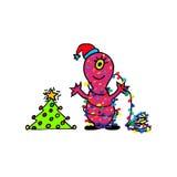 Het monster wenst een Gelukkig nieuw jaar Hand getrokken beeldverhaal Stock Afbeeldingen