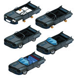 Het monteren van zwarte cabriolet met onderdelen Vectorauto vector illustratie
