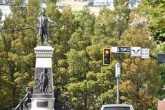 Het Monument aan Brigham Young en de Pioniers in Salt Lake City, Utah Royalty-vrije Stock Afbeeldingen