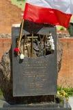 Het monument aan de 22.000 Poolse legerambtenaren moord in 1940 door Sovjets in Katyn stock fotografie