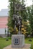 Het monument aan de Prins van Heilige van Moskou Dmitry Donskoy op de plaats van de eerste de kadetkorpsen van Moskou Stock Afbeelding