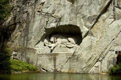 Het monument aan de stervende leeuw van Luzerne. Stock Fotografie