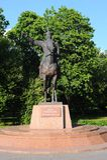 Het monument aan Manas Grootmoedig, wordt de held van het Kirghiz-heldendicht geplaatst in het Park van Vriendschap, Moskou, Rusl royalty-vrije stock foto's