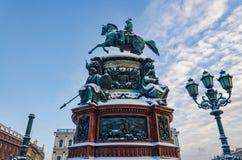Het monument aan Nicholas I bij het vierkant van Isaac Royalty-vrije Stock Fotografie