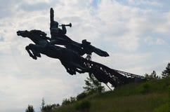 Het monument aan ruiters wordt gemaakt van ijzer Royalty-vrije Stock Foto