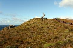 Het monument in de vorm van de Albatros werd geïnstalleerd op het Eiland Gorne ter ere van de zeelieden die terwijl het proberen  Stock Foto's