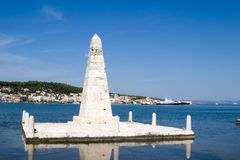 Het monument op de Drapano Brug, Argostoli, Kefalonia, Septem Stock Foto's