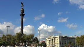 Het monument van Columbus in Barcelona spanje stock video