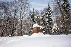 Het monument van de beroemde Indische politieke en geestelijke leider Mahatma Gandhi in Moskou, Rusland Stock Foto