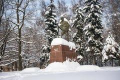 Het monument van de beroemde Indische politieke en geestelijke leider Mahatma Gandhi in Moskou, Rusland Stock Afbeeldingen