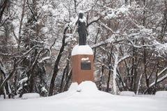 Het monument van de enige vrouwelijke Eerste minister van India Indira Gandhi in Moskou, Rusland royalty-vrije stock foto's