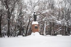 Het monument van de enige vrouwelijke Eerste minister van India Indira Gandhi in Moskou, Rusland royalty-vrije stock afbeelding