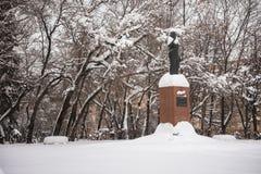 Het monument van de enige vrouwelijke Eerste minister van India Indira Gandhi in Moskou, Rusland royalty-vrije stock fotografie