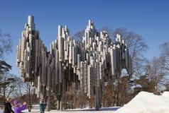 Het monument van de Finse componist Jean Sibelius, 1967 op 17 maart, 2013 in Helsinki, Finland Stock Foto's