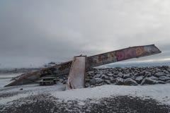 Het monument van de Skeiðará brug, IJsland Royalty-vrije Stock Foto's