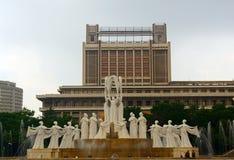 Het Monument van de sneeuwdans, Pyongyang, Noord-Korea stock afbeeldingen