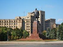 Het monument van Lenin op Vrijheidsvierkant in Kharkov ukraine Stock Afbeelding