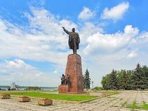 Het Monument van Lenin in Zaporizhia, de Oekraïne stock foto
