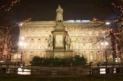 Het monument van Leonardo in Milaan, Italië stock foto's