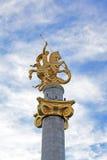 Het monument van St George door Zurab Tsereteli installeerde op Vrijheidsvierkant in Tbilisi, Georgië Geopend op 23 November 2006 Stock Foto's