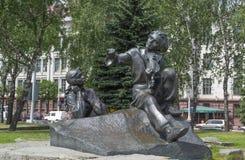 Het monument van Yakub-Kola's en helden van zijn werken Stock Afbeeldingen