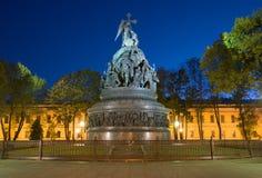 Het monumentenmillennium van de nacht van Rusland september Veliky Novgorod Stock Foto's