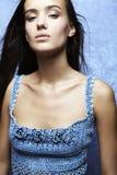 Het mooie aantrekkingskrachtvrouw stellen in blauw Royalty-vrije Stock Fotografie
