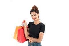 Het mooie atractive meisje winkelen Royalty-vrije Stock Foto's