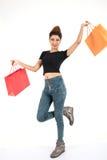 Het mooie atractive meisje winkelen Royalty-vrije Stock Foto