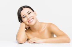 Het mooie Aziatische Glimlachen van de Vrouw stock foto