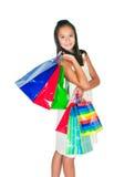 Het mooie Aziatische meisje met pakketten Royalty-vrije Stock Foto