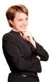 Het mooie bedrijfsvrouw denken Stock Foto's