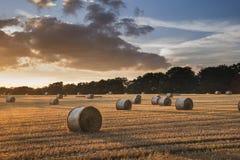 Het mooie beeld van het plattelandslandschap van hooibalen in de Zomer fie Stock Foto