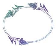 Het mooie bloemen ronde kader met gradiënt vult Stock Foto