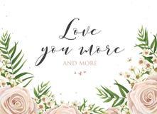 Het mooie bloemenkaartontwerp met roze, romig witte tuin nam, w toe royalty-vrije illustratie