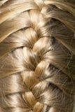Het mooie blonde glanzende haar werd gevlecht stock fotografie