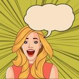 Het mooie blonde retro verraste vrouw gillen vector illustratie