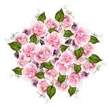 Het mooie boeket van het waterverfhuwelijk met bloemen van roze en viooltjes royalty-vrije illustratie