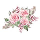 Het mooie boeket van het waterverfhuwelijk met roze rozen en varen, bladeren stock illustratie