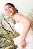 Het mooie bruid glimlachen Stock Foto