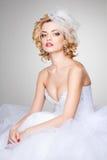 Het mooie bruid stellen dramatisch in de studio Stock Fotografie
