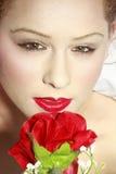 Het mooie bruine eyed meisje met nam toe Stock Fotografie