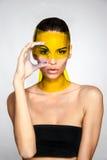Het mooie concept van de het gezichtshuid van de meisjes modelschoonheid Stock Foto