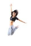 Het mooie de tiener van de hiphopstijl springende dansen stock fotografie