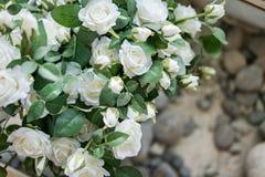 Het mooie decor, witte rozen, een te schrijven plaats, kopieert ruimte royalty-vrije stock foto