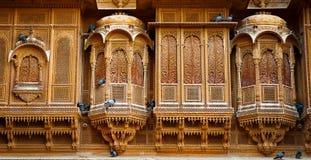 Het mooie die paleis van Patwon ki Haveli van gouden kalksteen i wordt gemaakt Royalty-vrije Stock Foto