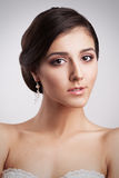 Het mooie Donkerbruine Portret van de Bruidvrouw Elegantiekapsel Stock Afbeeldingen
